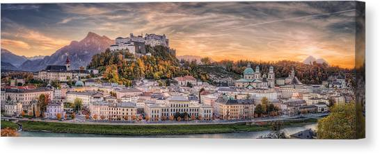Castle Canvas Print - Salzburg In Fall Colors by Stefan Mitterwallner