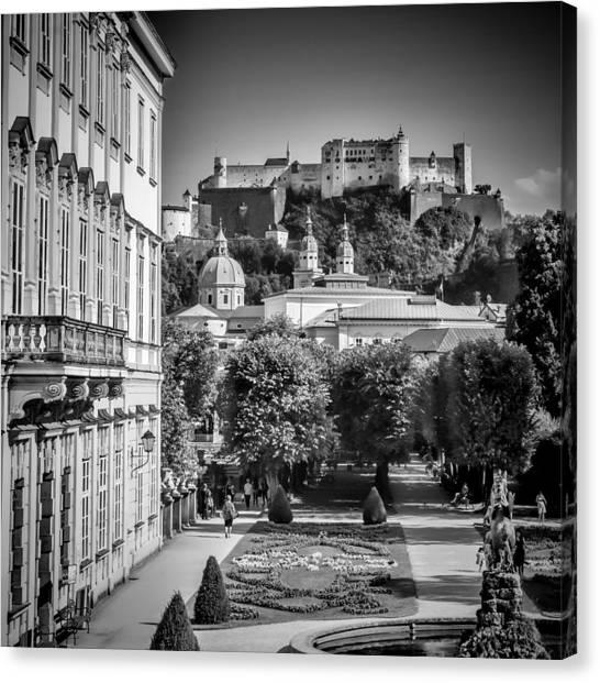 Unique View Canvas Print - Salzburg Wonderful View To Salzburg Fortress Monochrome by Melanie Viola