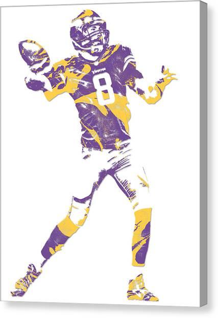 Minnesota Vikings Canvas Print - Sam Bradford Minnesota Vikings Pixel Art 10 by Joe Hamilton