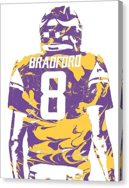 Minnesota Vikings Canvas Print - Sam Bradford Minnesota Vikings Pixel Art 11 by Joe Hamilton