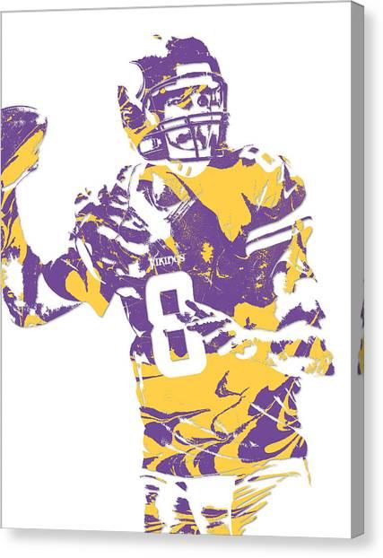 Minnesota Vikings Canvas Print - Sam Bradford Minnesota Vikings Pixel Art 12 by Joe Hamilton