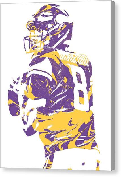 Minnesota Vikings Canvas Print - Sam Bradford Minnesota Vikings Pixel Art 13 by Joe Hamilton
