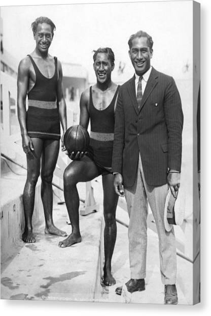 Volleyball Canvas Print - Sam, Dave And Duke Kahanamoku by Underwood Archives