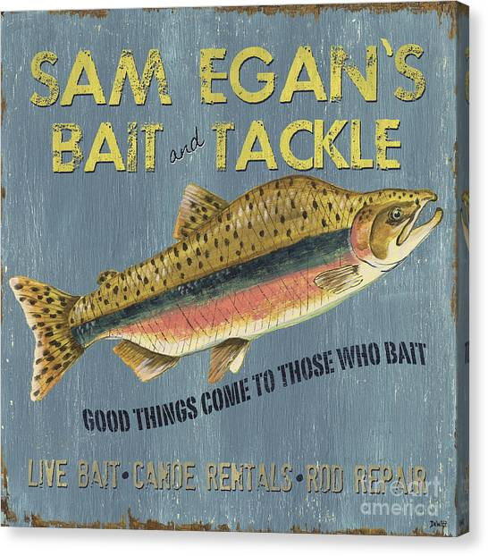 Trout Canvas Print - Sam Egan's Bait And Tackle by Debbie DeWitt