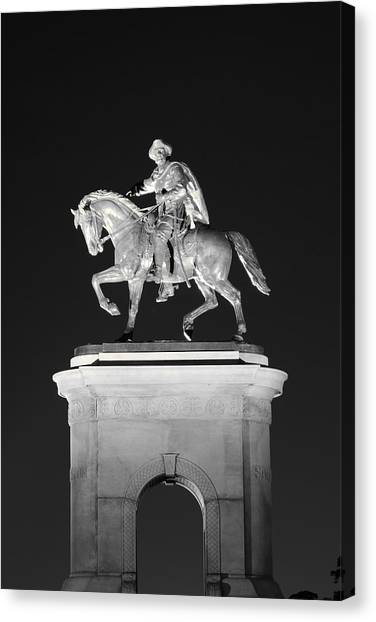 Sam Houston - Black And White Canvas Print