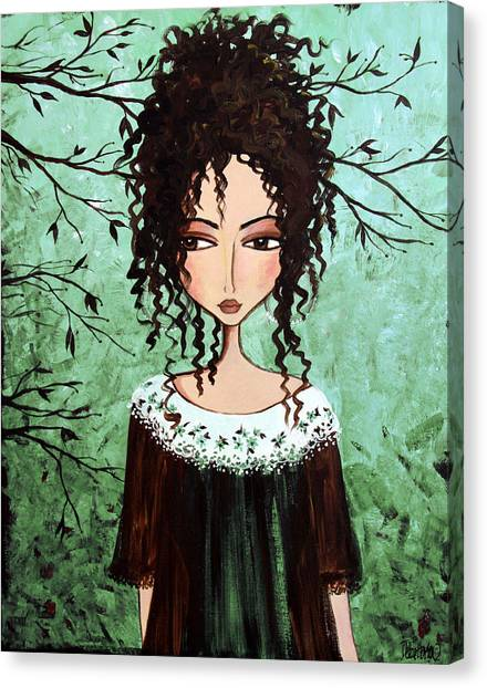 Folk Art Canvas Print - Samantha's Chocolate Tree by Debbie Horton