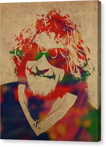 Van Halen Canvas Print - Sammy Hagar Van Halen Watercolor Portrait by Design Turnpike