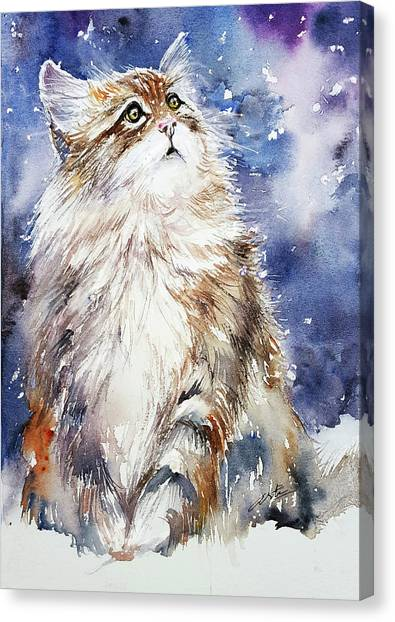Sammy On Snow Canvas Print