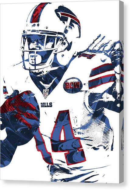 Buffalo Bills Canvas Print - Sammy Watkins Buffalo Bills Pixel Art by Joe Hamilton