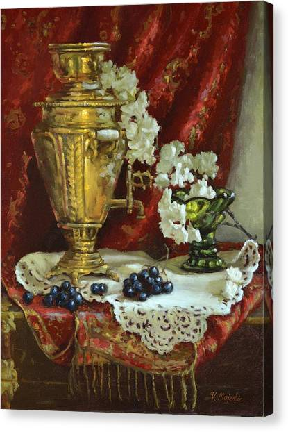 Samovar And Cherry Blossoms Canvas Print