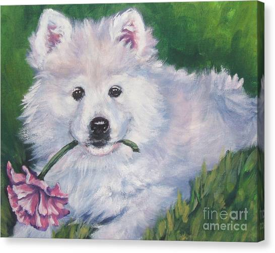 Peony Canvas Print - Samoyed Pup With Peony by Lee Ann Shepard