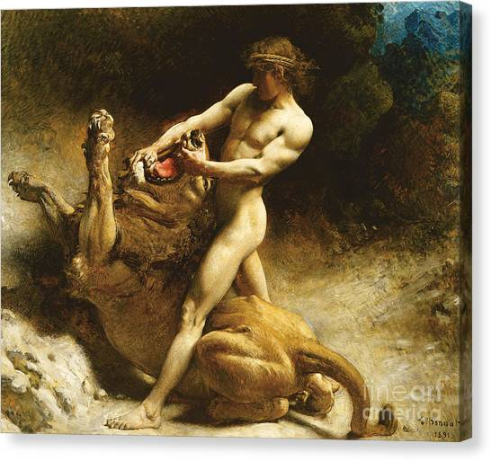 Neoclassical Art Canvas Print - Samson's Youth by Leon Joseph Florentin Bonnat