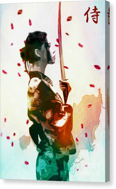 Samurai Girl - Watercolor Painting Canvas Print