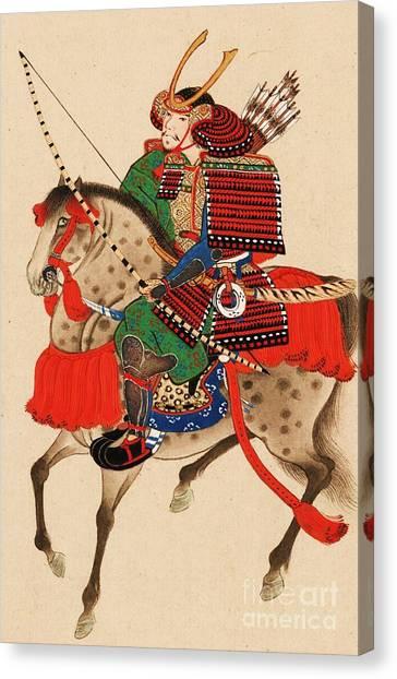 Samurai On Horseback Canvas Print