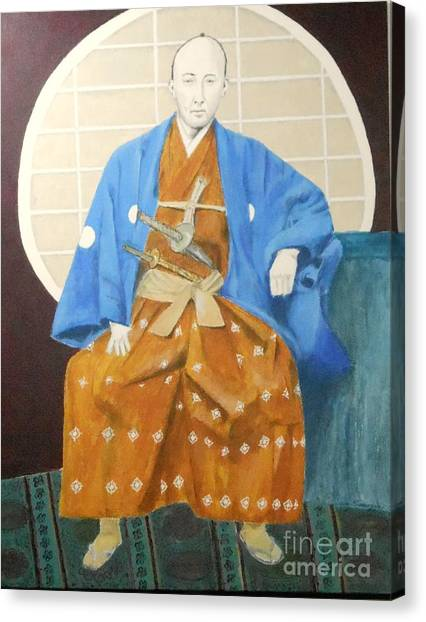 Samurai-san -- Portrait Of Japanese Warrior Canvas Print