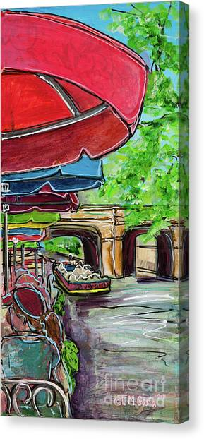 Canvas Print featuring the painting San Antonio River Walk Cafe by TM Gand