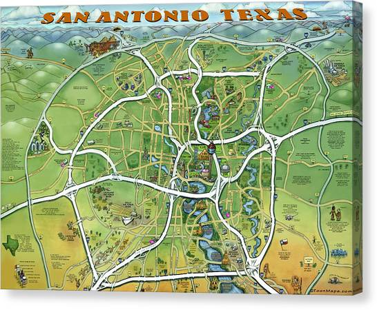 San Antonio Texas Cartoon Map Canvas Print