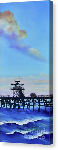 Canvas Print featuring the painting San Clemente High Surf by Mary Scott