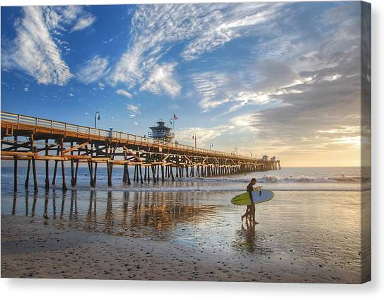 Surfing Canvas Print - San Clemente Pier And Surfers by Hal Bowles