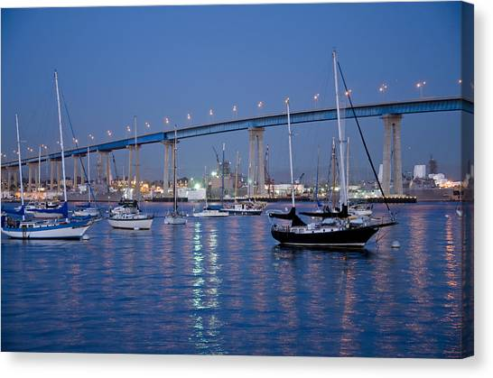 Canvas Print featuring the photograph San Diego Bay At Nightfall by Margaret Pitcher