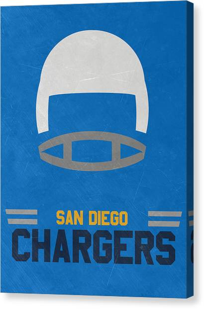 Football Teams Canvas Print - San Diego Chargers Vintage Art by Joe Hamilton
