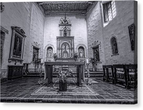 Mission San Diego Canvas Print - San Diego De Alcala Altar - Bw by Stephen Stookey