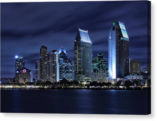 California Landscape Art Canvas Print - San Diego Skyline At Night by Larry Marshall