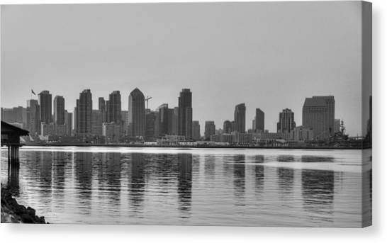 San Diego Skyline Black And White Canvas Print