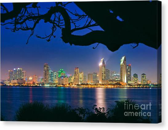 San Diego Skyline From Bay View Park In Coronado Canvas Print