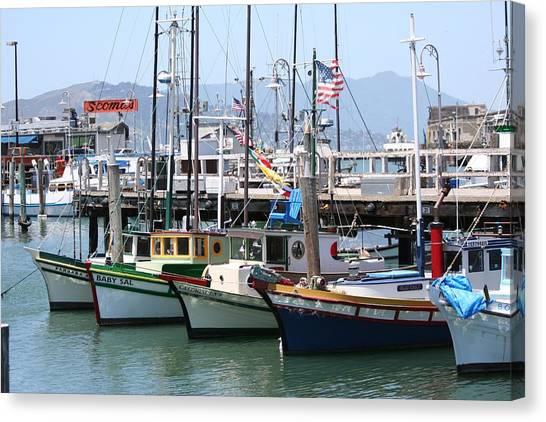 San Fran Boats Canvas Print by Melanie Beasley