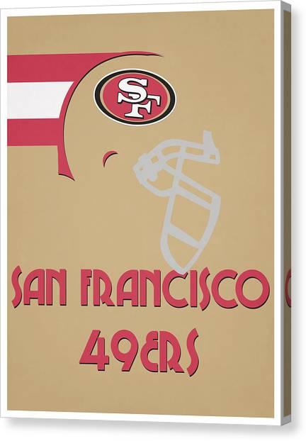 San Francisco 49ers Canvas Print - San Francisco 49ers Team Vintage Art by Joe Hamilton