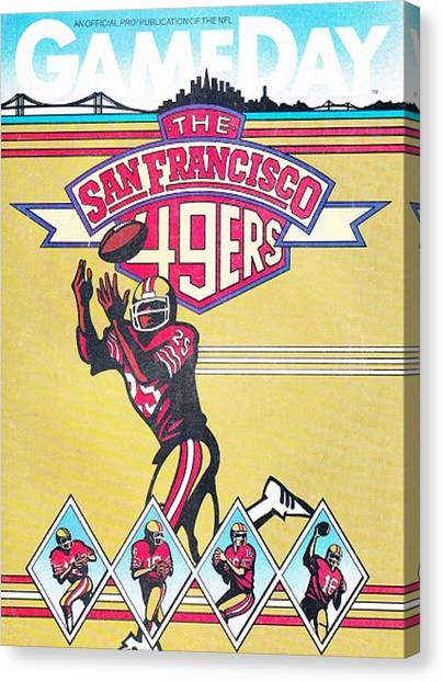 San Francisco 49ers Canvas Print - San Francisco 49ers Vintage Program by Joe Hamilton