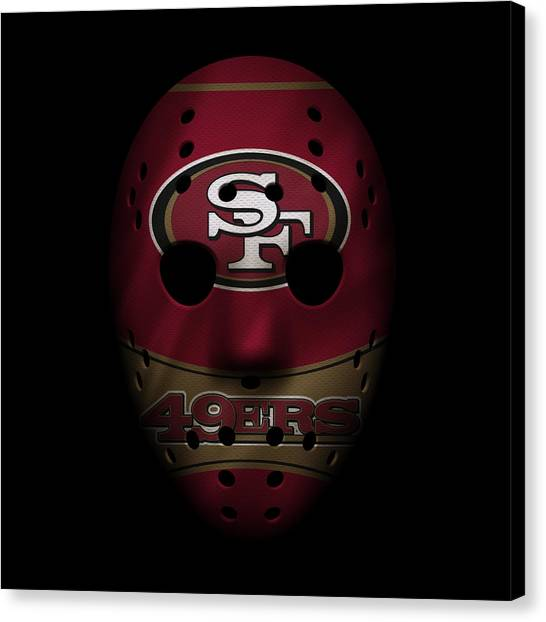 San Francisco 49ers Canvas Print - San Francisco 49ers War Mask by Joe Hamilton