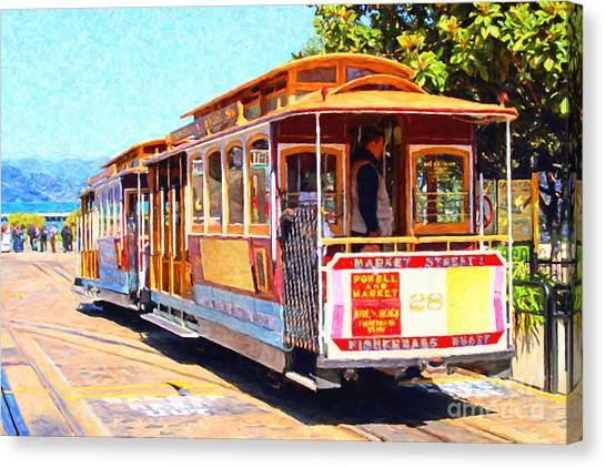 Canvas Print featuring the photograph San Francisco Cablecar At Fishermans Wharf . 7d14097 by Wingsdomain Art and Photography