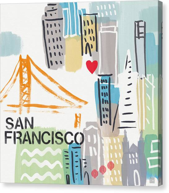 Mustard Canvas Print - San Francisco Cityscape- Art By Linda Woods by Linda Woods