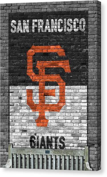 San Francisco Giants Canvas Print - San Francisco Giants Brick Wall by Joe Hamilton