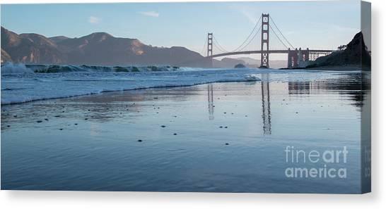 San Francisco Golden Gate Bridge Reflected On Baker's Beach Wet  Canvas Print