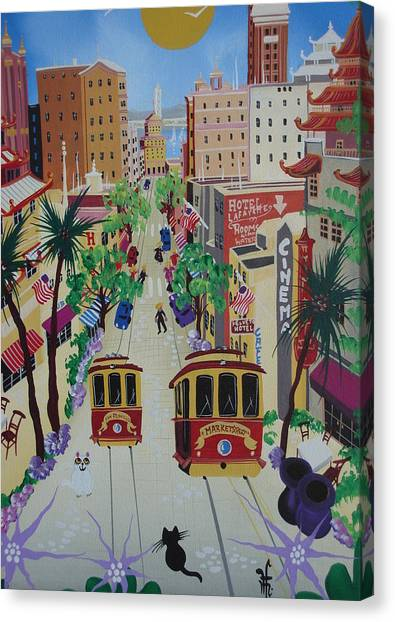 China Town Canvas Print - San Francisco by Herbert Hofer