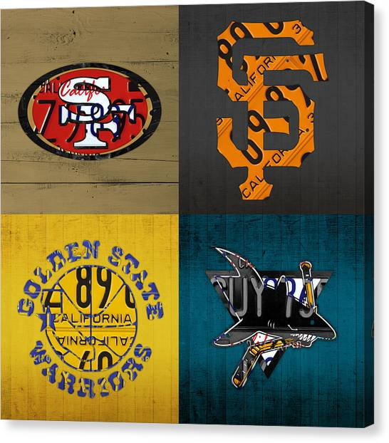 Baseball Teams Canvas Print - San Francisco Sports Fan Recycled Vintage California License Plate Art 49ers Giants Warriors Sharks by Design Turnpike