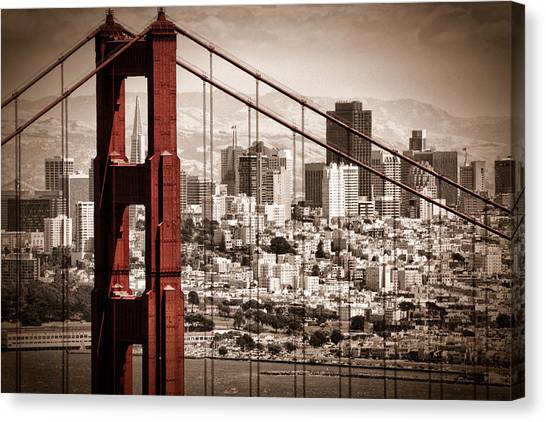 City Landscape Canvas Print - San Francisco Through The Bridge by Matt  Trimble