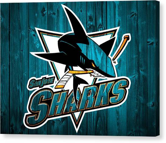 San Jose Sharks Canvas Print - San Jose Sharks Barn Door by Dan Sproul