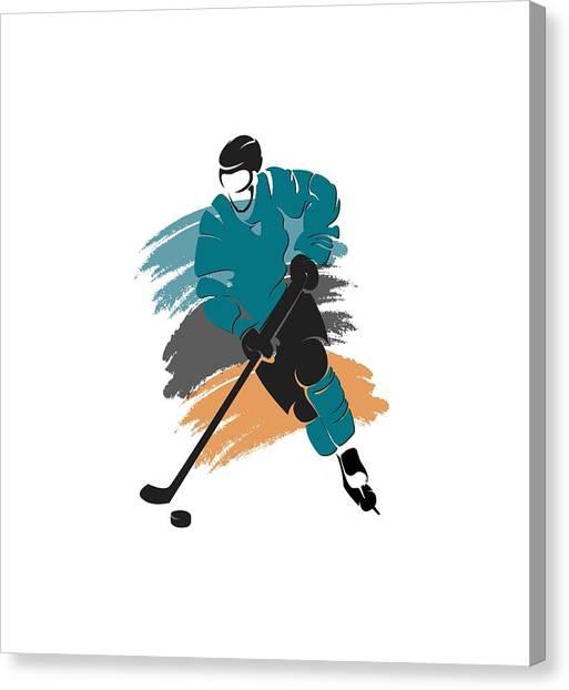 San Jose Sharks Canvas Print - San Jose Sharks Player Shirt by Joe Hamilton
