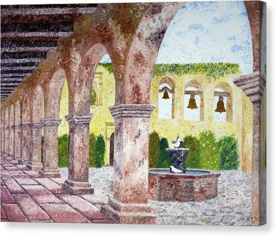 White Church Canvas Print - San Juan Capistrano Courtyard by Laura Iverson