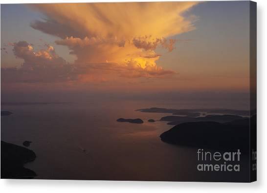 Vancouver Island Canvas Print - San Juan Islands Aerial Thunderstorm by Mike Reid