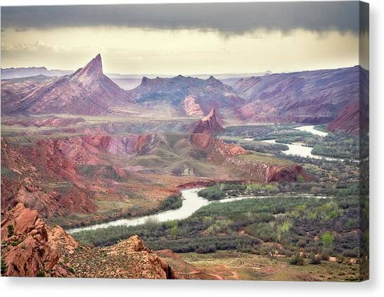 San Juan River And Mule's Ear Canvas Print