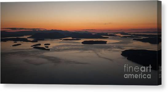 Vancouver Island Canvas Print - San Juans Islands Aerial Sunset Calm Dusk by Mike Reid