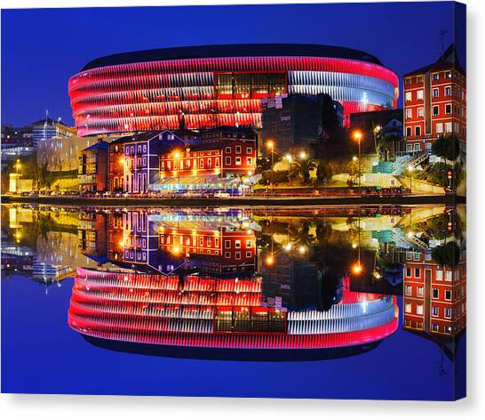 San Mames Stadium At Night With Water Reflections Canvas Print