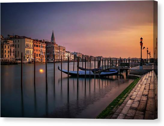 San Marco Campanile With Gondolas At Grand Canal During Calm Sunrise, Venice, Italy, Europe. Canvas Print