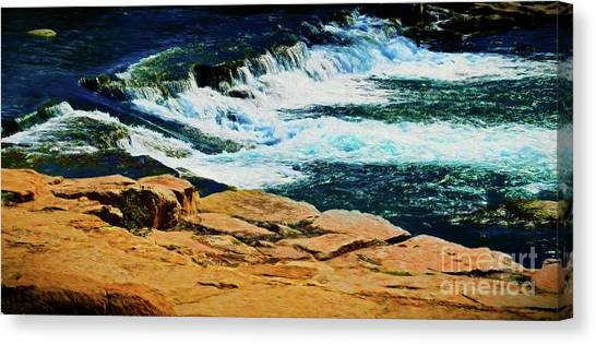 Sun Belt Canvas Print - San Marcos River Waterfall 12118-5 by Ray Shrewsberry