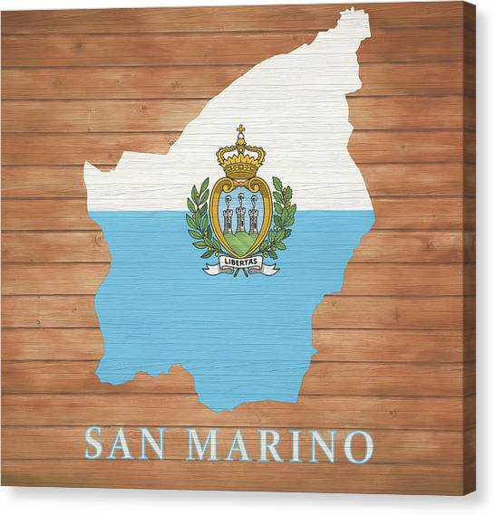 Dan Marino Canvas Print - San Marino Rustic Map On Wood by Dan Sproul